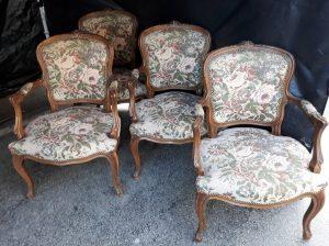 Suite de 4 Fauteuils Anciens Cabriolet Louis XV